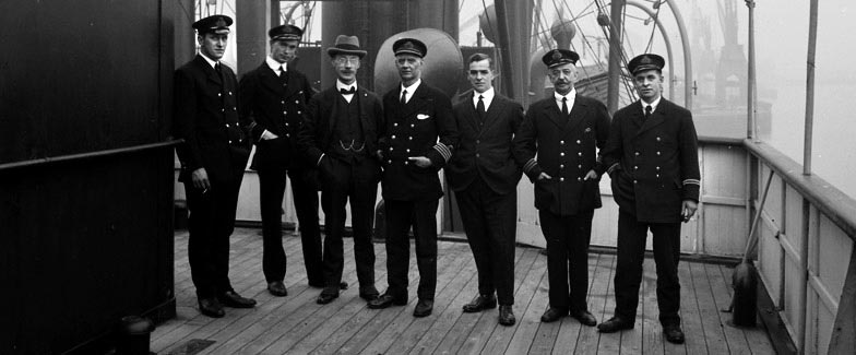 Crew members on the deck of a ship